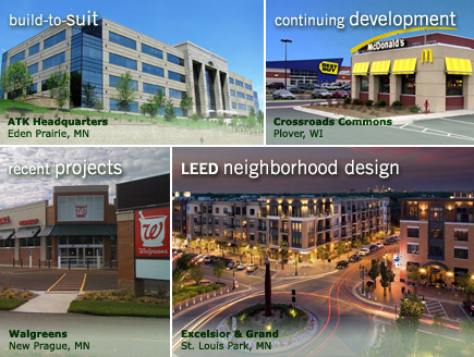 green design: Fairview Clinic, just completed: Excelsior & Grand, under construction: ATK Headquarters, continuing development: Crossroads Commons